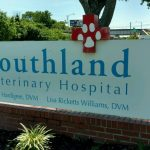 The sign at Southland Veterinary clinic